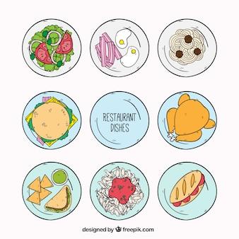 Selección de platos de restaurante, dibujados a mano