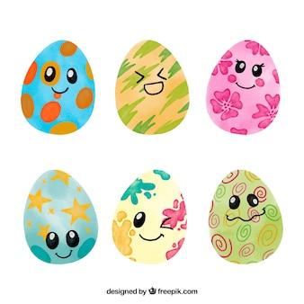 Selección de seis huevos de pascua con geniales caras