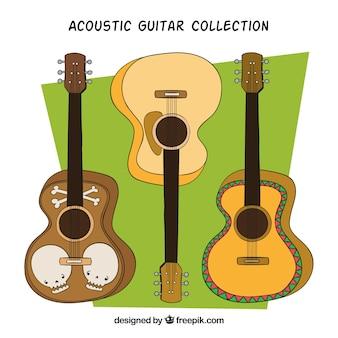 Selección de tres guitarras acústicas dibujadas a mano