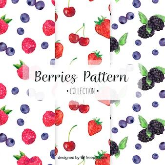 Selección de tres patrones con frutas de acuarela