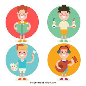 Selección plana de chico aprendiendo diferentes materias