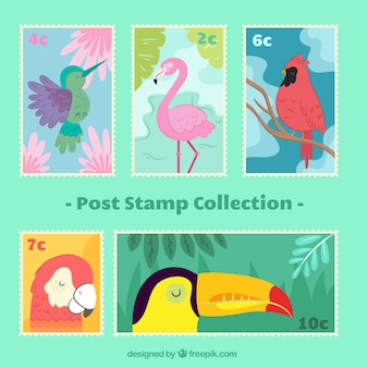 Sellos postales fantásticos con pájaros