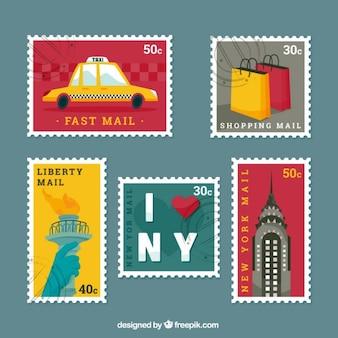 Sellos vintage de nueva york en diseño plano