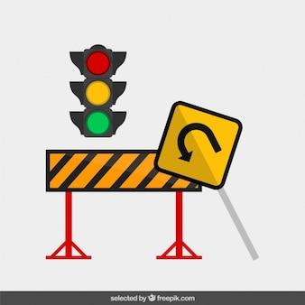 Señal de tráfico en diseño plano