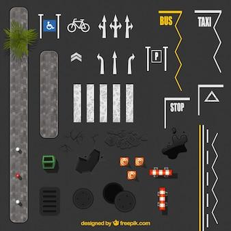 Señales de carretera sobre asfalto