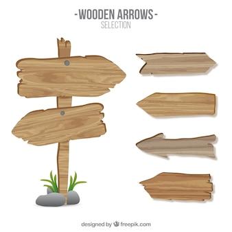 señales de flecha de madera