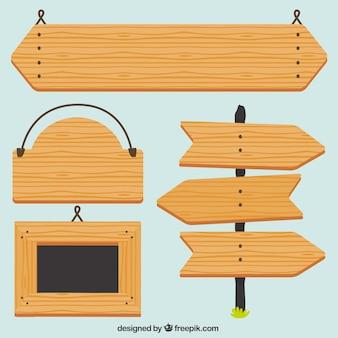 Señales de madera estilo flat