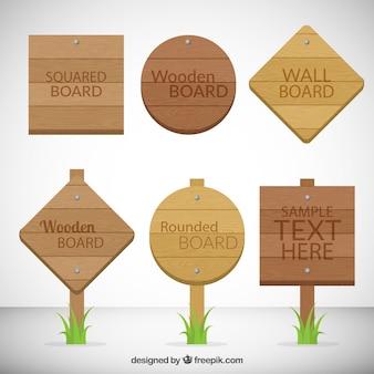 Señales de tabla de madera