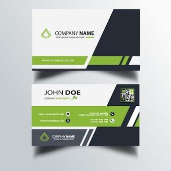 Sencilla tarjeta de negocios con formas verdes y negras