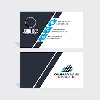 Sencilla tarjeta de visita azul, negra y blanca