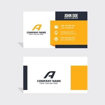 Sencilla tarjeta de visita con formas negras y amarillas
