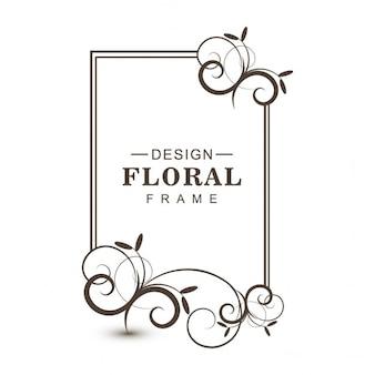 Sencillo marco floral negro