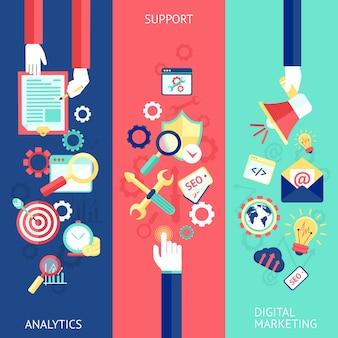 SEO conjunto de banner plana con el soporte de análisis de marketing digital aislados ilustración vectorial