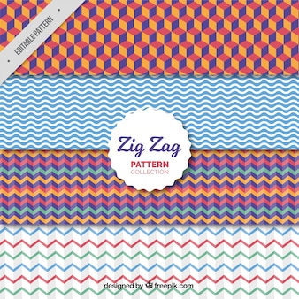 Set colorido de patrones en zigzag