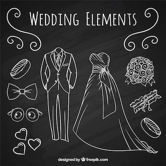 Set de accesorios con traje de novio y vestido de novia dibujados a mano