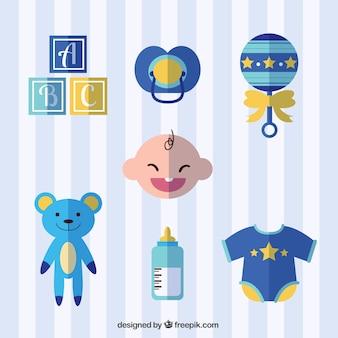 Set de accesorios de bebé en diseño plano