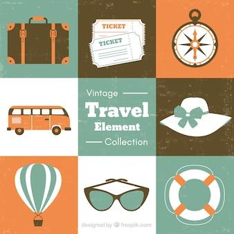 Set de accesorios de viaje de verano en estilo retro