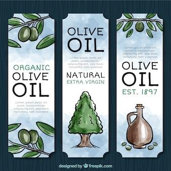 Set de acuarela de etiquetas de aceite de oliva
