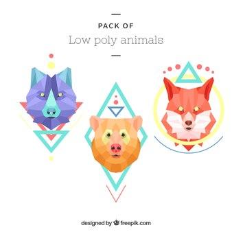 Set de animales de colores en estilo low poly