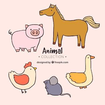 Set de animales de granja dibujados a mano