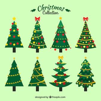 Set de árboles de navidad con ornamentos