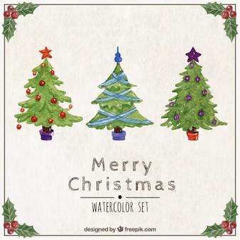 Set de árboles de navidad de acuarela