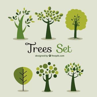 Set de árboles verdes