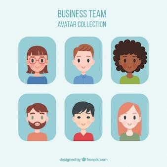 Set de avatares adorables de equipo de negocios