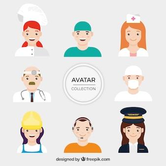 Set de avatares de profesionales