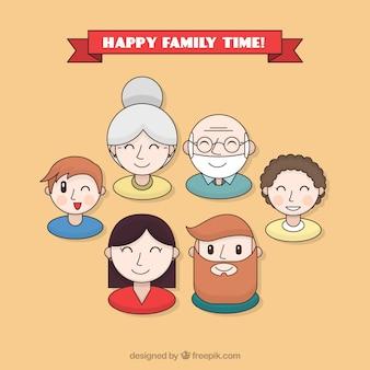 Set de avatares del día de la familia