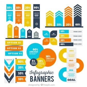 Set de banderas infográficas