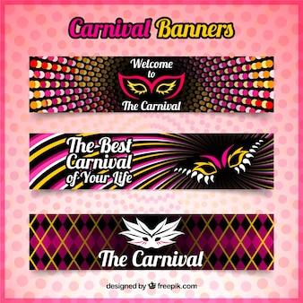 Set de banners abstractos de carnaval con máscaras