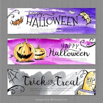Set de banners coloridos para celebrar un feliz halloween