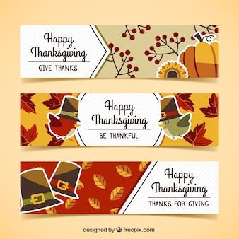 Set de banners de acción de gracias con pájaros y hojas