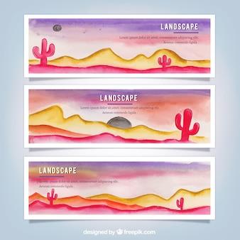 Set de banners de acuarela de paisajes con cactus
