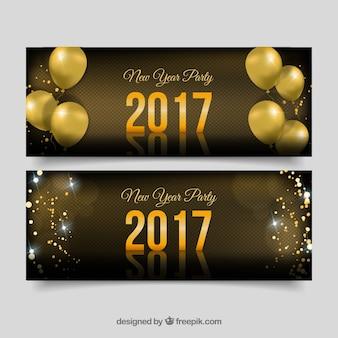 Set de banners de año nuevo con globos dorados y confeti