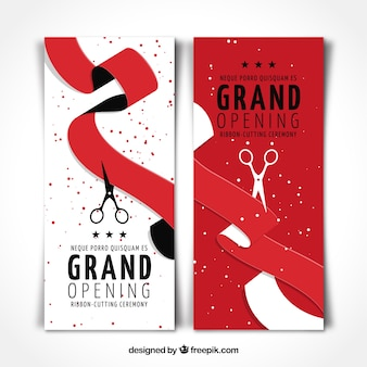 Set de banners de cintas rojas de inauguración