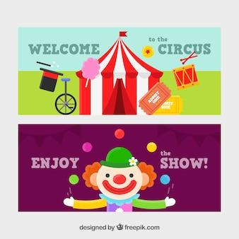Set de banners de circo con carpa y payaso
