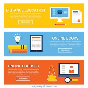 Set de banners de educación a distancia en diseño plano