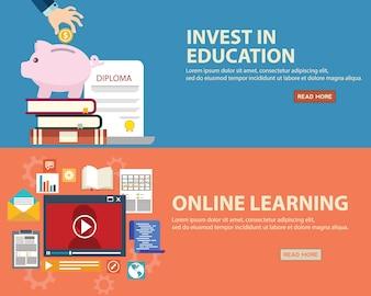 Set de banners de educación