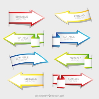Set de banners de flechas de papel