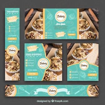 Set de banners de panadería