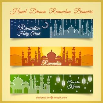 Set de banners de ramadan con palacio