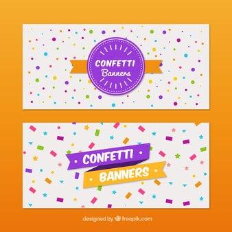 Set de banners decorativos con confeti y estrellas de colores