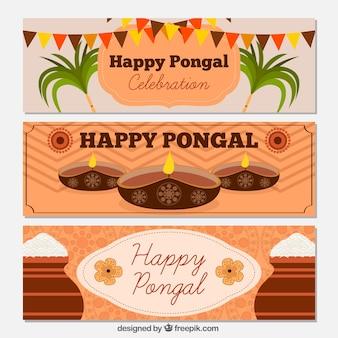 Set de banners decorativos de feliz pongal