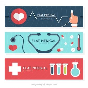 Set de banners médicos con elementos