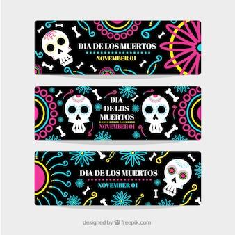 Set de banners ornamentales del día de los muertos