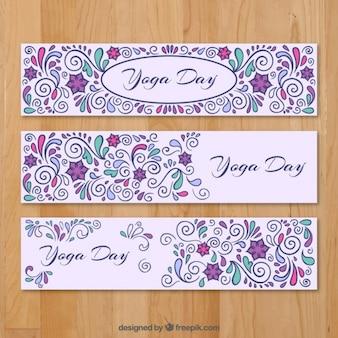 Set de banners ornamentales del día de yoga