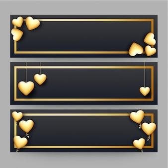 Set de banners oscuros con corazones dorados