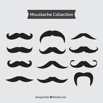 Set de bigotes negros vintage